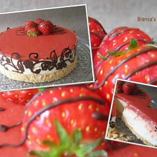 rhubarb strawberry cheesecake - Cake by Bianca's Bakery
