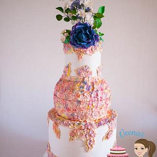 Hydrangea Blooms Wedding  - Cake by Veenas Art of Cakes