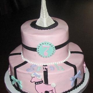 Pink Poodle in Paris Cake
