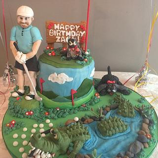Crocodile Golf Caddy Cake