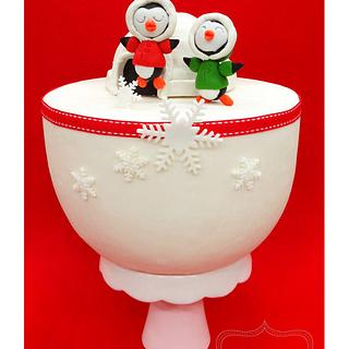 Christmas Cake: Playful penguins (Part One) - Cake by weennee