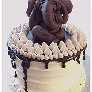 Lord Ganesha modelling chocolate figure.
