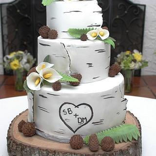 White Modeling Chocolate wrapped birch wedding cake