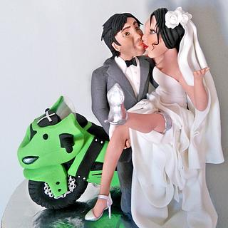 Bride, Groom and Bike topper