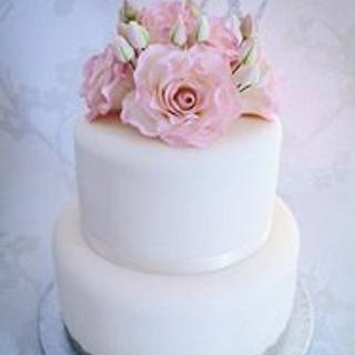 Floral rose 80th birthday cake