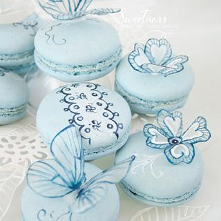 Blue Lace Macarons