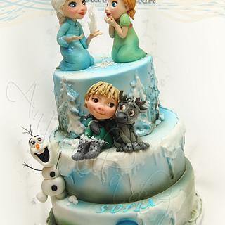 Frozen children birthday cake