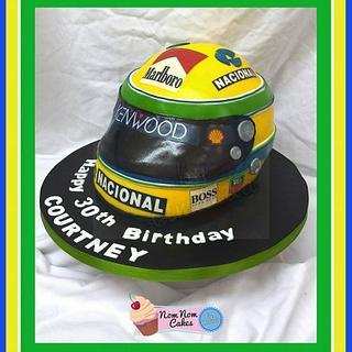 Ayrton Senna F1 helmet - Cake by Nomnomcakesbyamanda