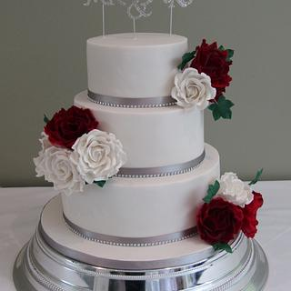 White & Red roses wedding cake - Cake by Mimi's Sweet Treats
