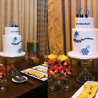 Winter Holiday Party Company Logo Cake - Cake by 6 Bittersweets (Xiaolu)