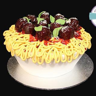 Bowl of spaghetti cake