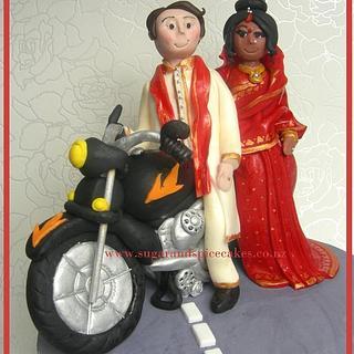 Indian Bride with Sari & British Groom - Bridal Couple on Motor Bike - Cake Topper