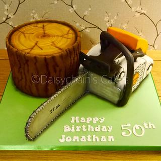 Chainsaw and log cake