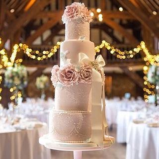 Pink brush embroidery wedding cake