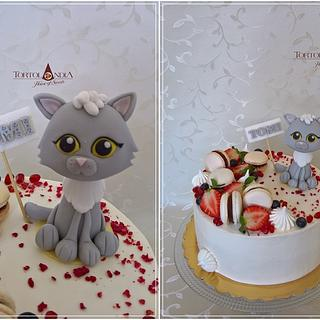 Drip cake with sweet cat