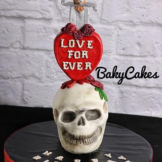 skull cake , Halloween cake,