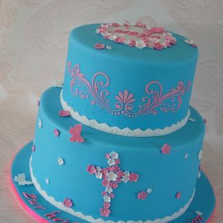 Holy Communion Cake- Blue&Pink
