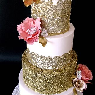 Gold lace wedding cake