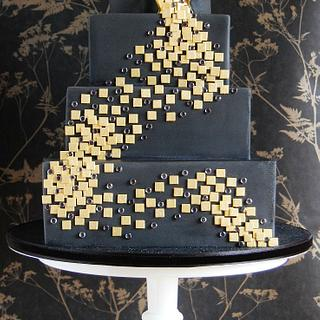 Black and Gold 'Dance' Contemporary Cake