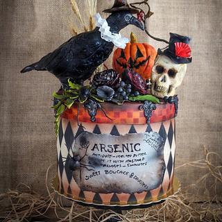 Halloween Cake with Elizabethan Raven