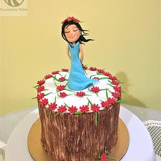 Girl in a cool breeze cake