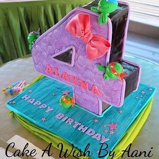 3D number 4 cake