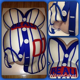Baseball jersey baby bump cake