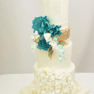 Teal White and Gold Cake