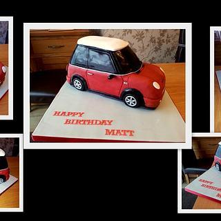 Red Mini Cooper cake