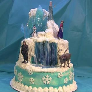 Frozen Cake With  Lighted Waterfall and Elsa's  Ice Castle