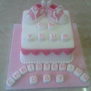 Christening cake for girl, can be made blue for boy