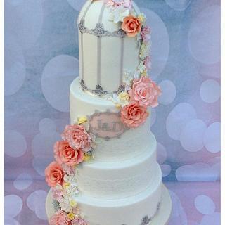 Floral Wedding Birdcage Cake