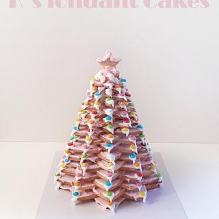 3d cookie Christmas Trees in Pink and Blue