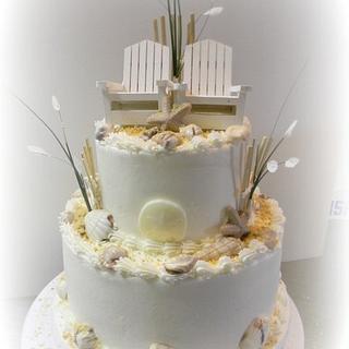 Fall Beach Wedding Cake