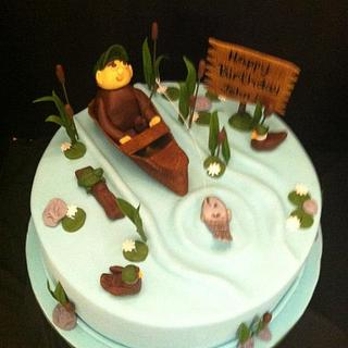 Man's Fishing Birthday cake
