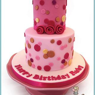 Pink & Red Polka Dot Cake