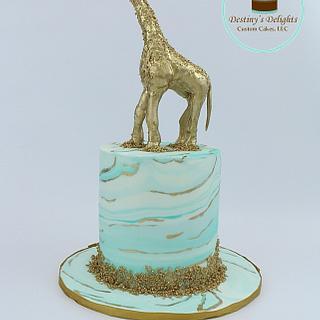 Marbled Gold Giraffe Cake - Cake by Anshalica Miles -Destiny's Delights Custom Cakes