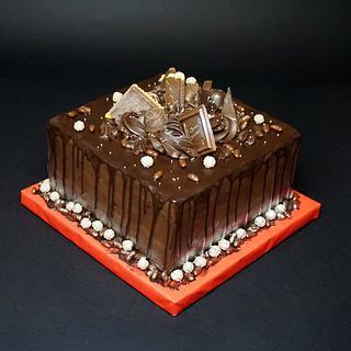 Drip square cake