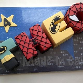 Superhero letters cake