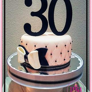 Pink & black quilted cake - Cake by Luga Cakes