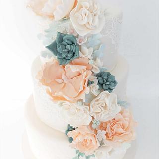 Sage and Blush Wedding Cake