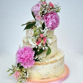 half naked wedding cake