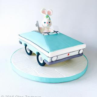 Toy car and a little bunny cake