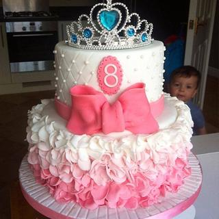 Ombre pink ruffle princess cake