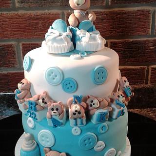 Teddy Christening cake for Frankie