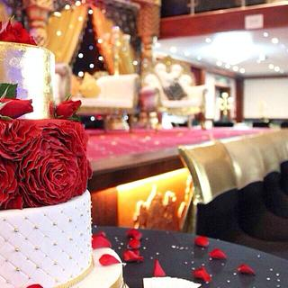 Grand Red Rose Ruffle and Gold Wedding Cake