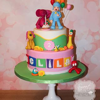 Pocoyo themed girl birthday cake