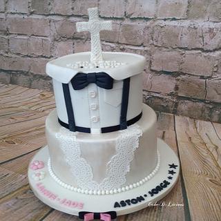 Mixed Gender Christening Cake - Cake by Sweet Lakes Cakes