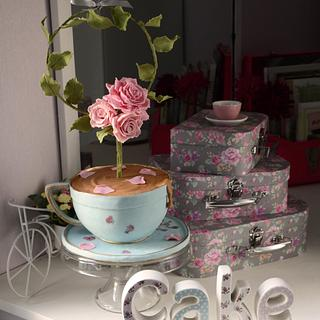The shabby chic floral wreath teacup cake