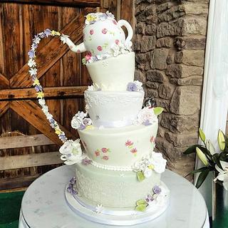 Teapot Wedding Cake - Cake by Divine Bakes